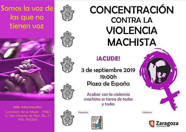 Concentración mensual contra la violencia de género @ Plaza España · Zaragoza