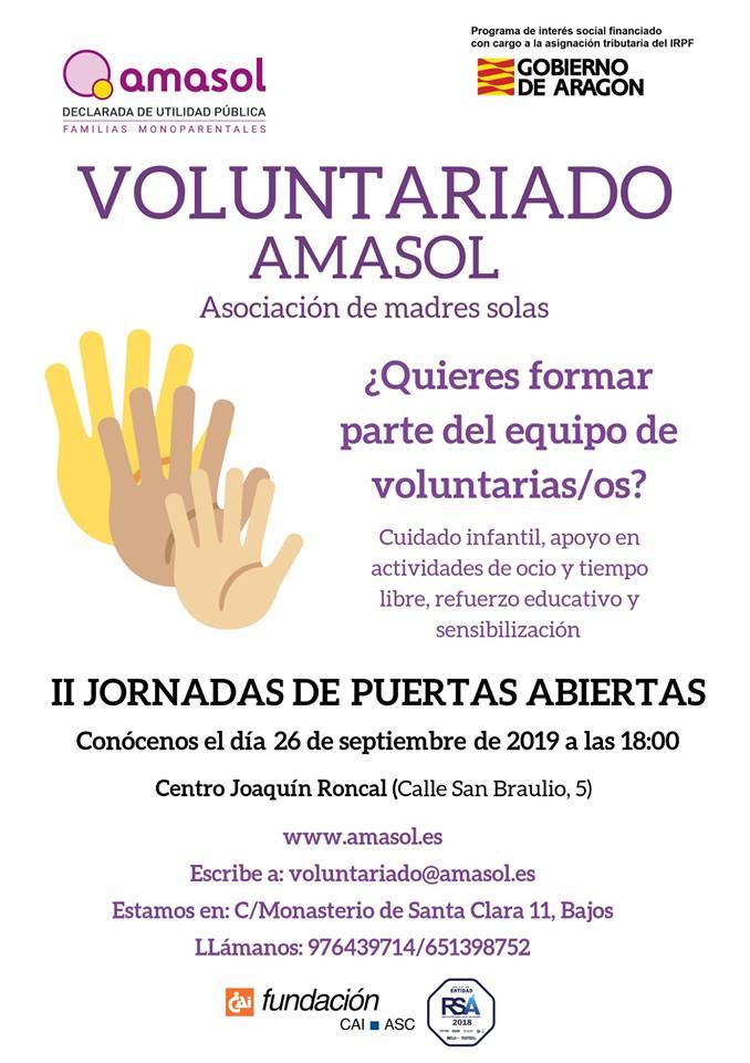 II Jornada Puertas Abiertas Voluntariado Amasol @ Centro Joaquín Roncal [Zaragoza]