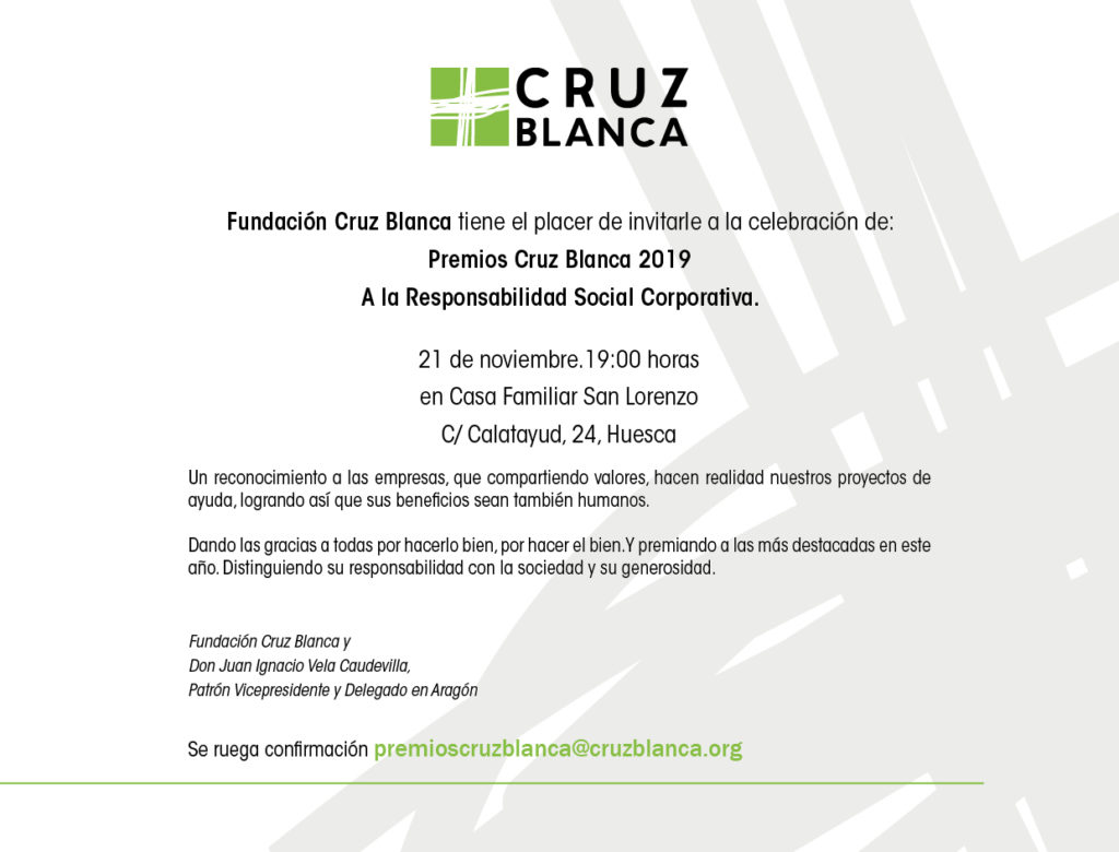 Premios Cruz Blanca RSC 2019 @ Casa Familiar San Lorenzo [Huesca]