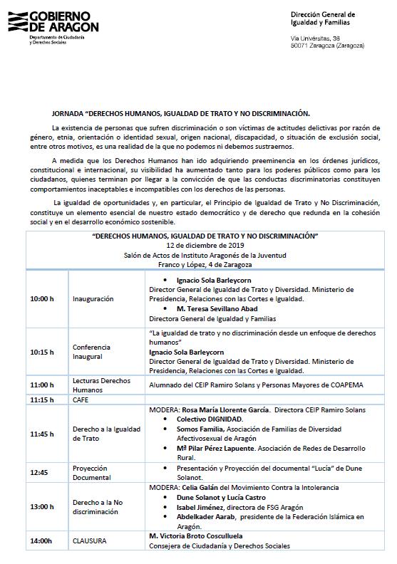 """Jornada """"Derechos Humanos, igualdad de trato y no discriminación"""" @ Salón de actos IAJ"""