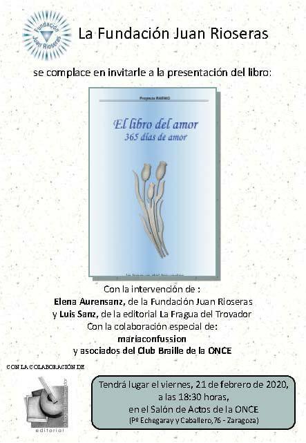 """Fundación Juan Rioseras presenta nuevo libro: """"El libro del amor"""" @ Salón de actos ONCE"""