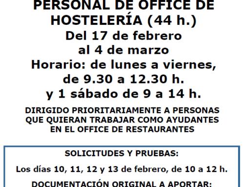 Curso para personal de office de Hostelería
